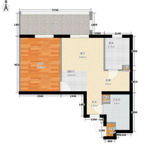 新彼岸1室1厅1卫1厨53.01㎡户型图