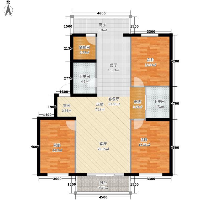 龙湾雅苑134.51㎡D户型(多层)户型3室2厅2卫1厨