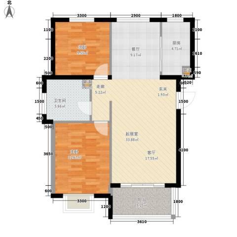 祥泰香榭花堤2室0厅1卫1厨80.78㎡户型图