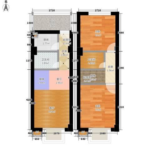 上城2室0厅2卫1厨45.00㎡户型图