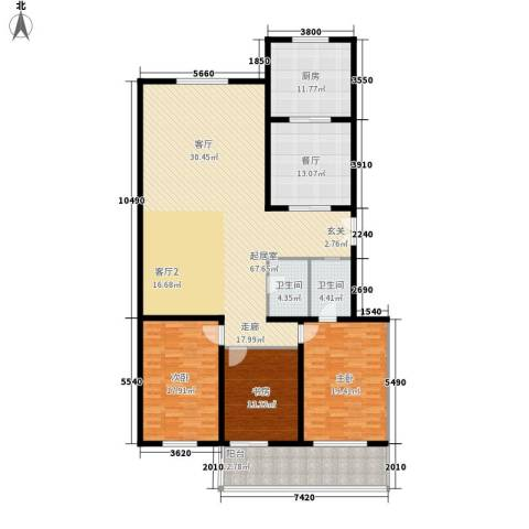 永丰公寓3室1厅2卫1厨182.00㎡户型图