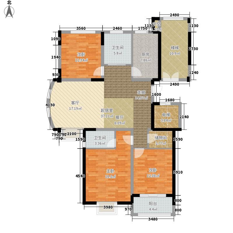 绿洲花园134.34㎡翠微园户型3室2厅2卫