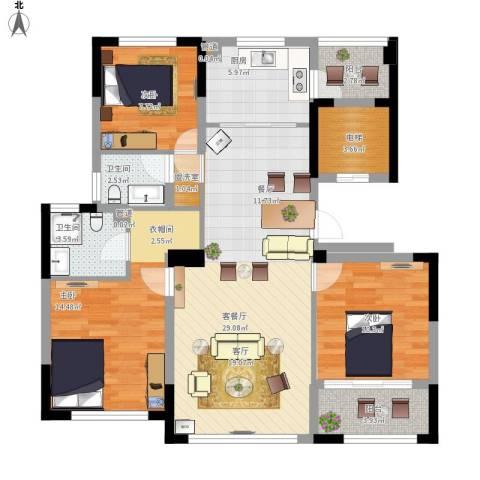 雅戈尔明洲3室1厅2卫1厨123.00㎡户型图
