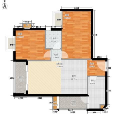 明都华庭2室0厅1卫1厨84.00㎡户型图