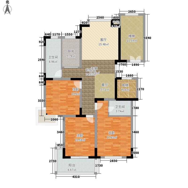绿洲花园135.94㎡朗清轩户型3室2厅2卫