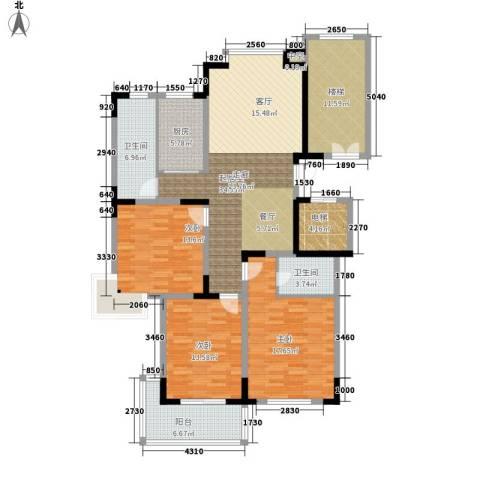 绿洲花园3室0厅2卫1厨136.00㎡户型图