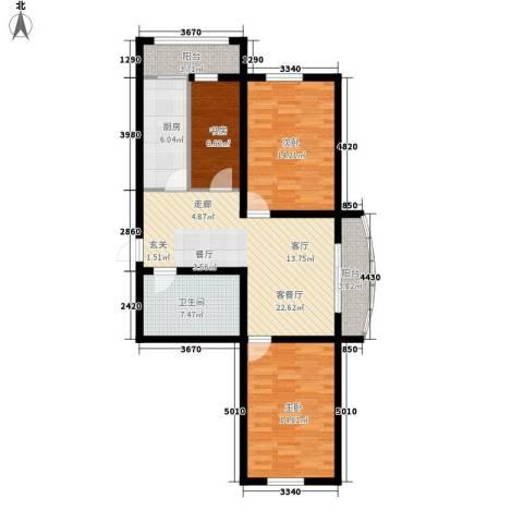东城花园3室1厅1卫1厨91.24㎡户型图