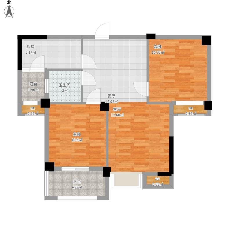 水域天际三期户型图四期44号楼面积80.00㎡