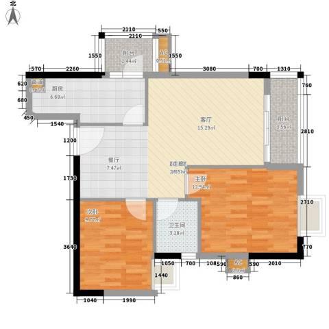 明都华庭2室0厅1卫1厨73.00㎡户型图