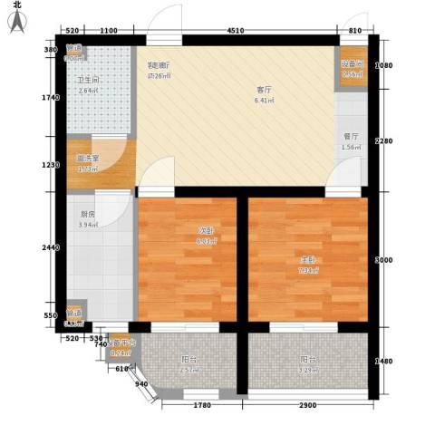 新希望家园2室1厅1卫1厨63.00㎡户型图