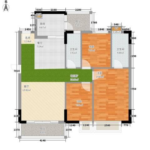 蓝色海岸3室1厅2卫1厨96.00㎡户型图