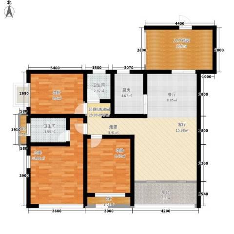 兴园小区3室0厅2卫1厨89.86㎡户型图