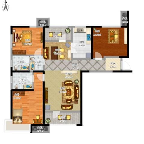 天津湾海景文苑3室1厅2卫1厨143.00㎡户型图