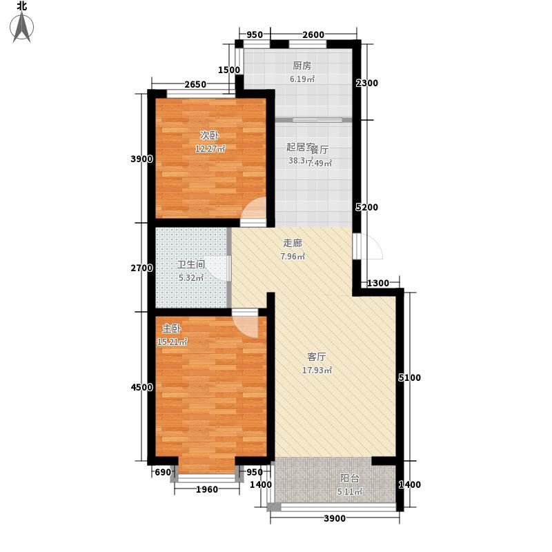 巨海城99.34㎡巨海城户型图N户型2室2厅1卫1厨户型2室2厅1卫1厨