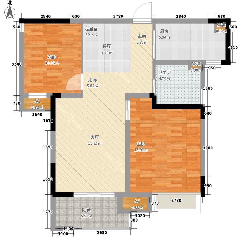 新城逸境89.00㎡7#两房两厅一卫户型2室2厅1卫1厨