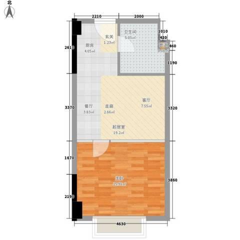 江南经典花园1室0厅1卫0厨45.00㎡户型图