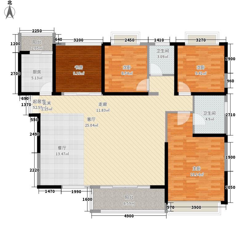 卓辉金色外滩143.61㎡13号楼01单元4室户型