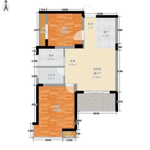江南经典花园2室0厅1卫1厨86.00㎡户型图
