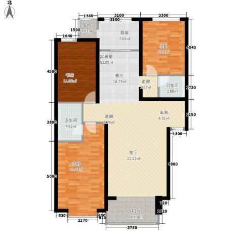 巨海城3室0厅2卫1厨133.00㎡户型图