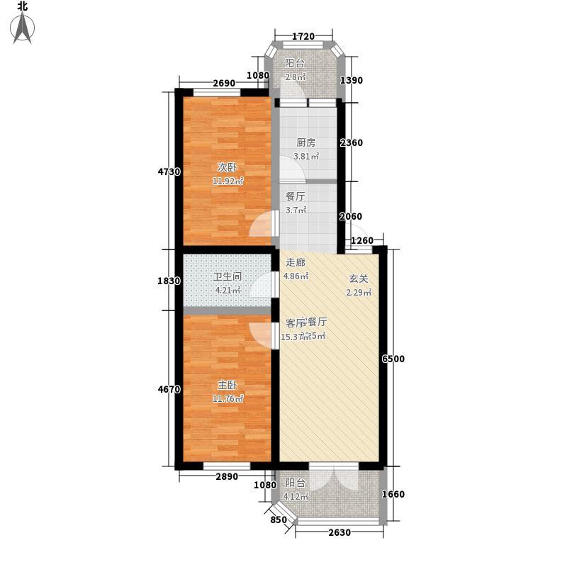 鸿朗花园66.10㎡鸿朗花园户型图2室2厅1卫1厨户型10室