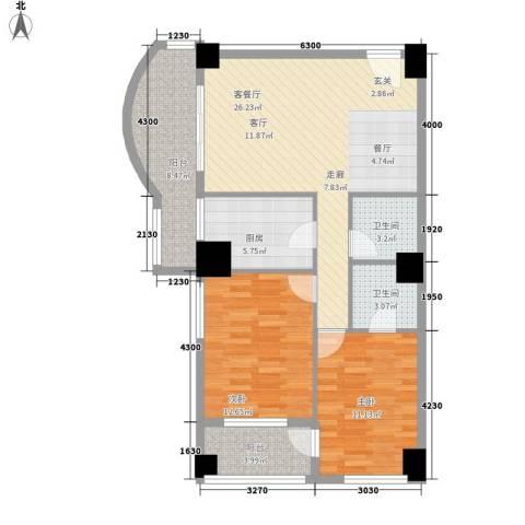 大欣圆梦园2室1厅2卫1厨74.49㎡户型图