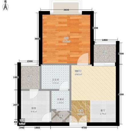 南山花园1室1厅1卫1厨52.00㎡户型图
