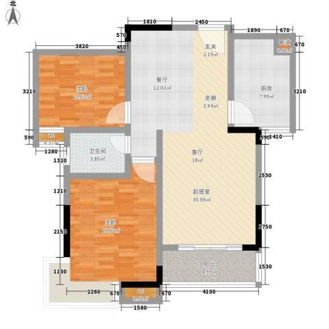 香格里拉2室0厅1卫1厨116.00㎡户型图