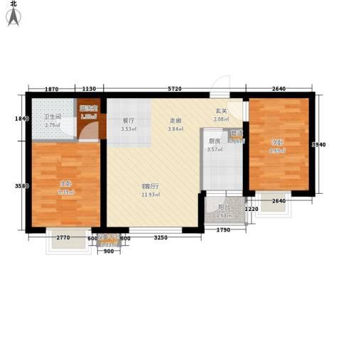 新希望家园2室1厅1卫1厨72.00㎡户型图