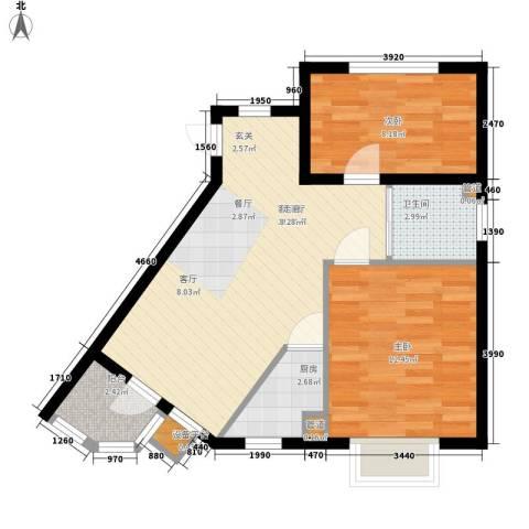 新希望家园2室1厅1卫1厨74.00㎡户型图