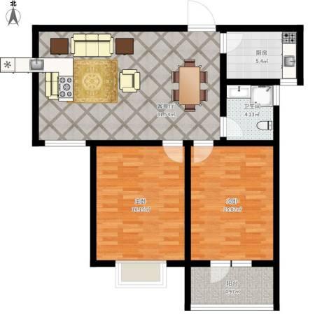 幸福城2室1厅1卫1厨109.00㎡户型图