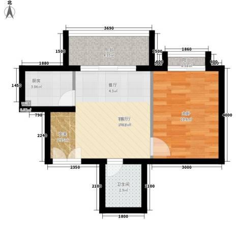 南山花园1室1厅1卫1厨51.00㎡户型图