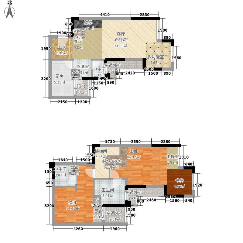 保利观澜4/5号楼跃层P1户型2室2厅