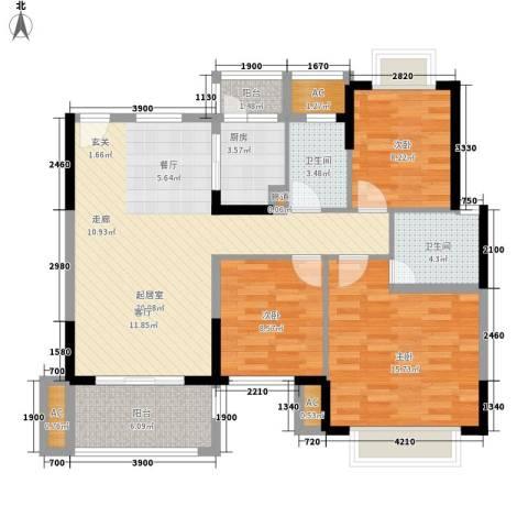联创大厦3室0厅2卫1厨122.00㎡户型图