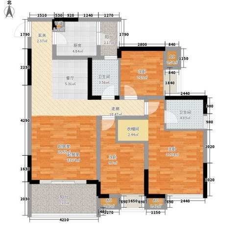 瀚恩五大道3室0厅2卫1厨106.62㎡户型图