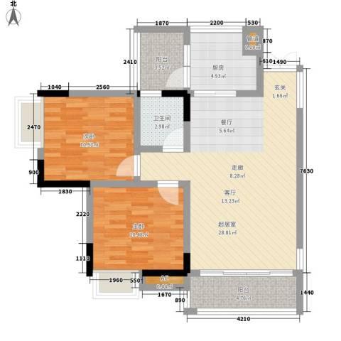 水木青华小小岛2室0厅1卫1厨71.00㎡户型图