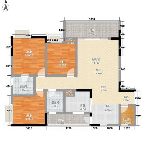水木青华小小岛3室0厅2卫1厨111.00㎡户型图