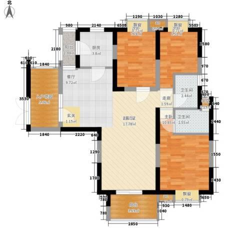 名江七星城3室0厅2卫1厨85.00㎡户型图