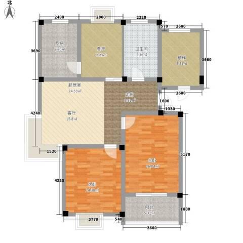 绿洲花园2室1厅1卫1厨107.00㎡户型图