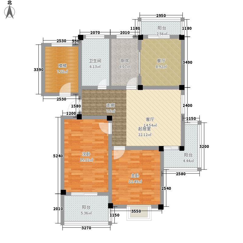 绿洲花园105.20㎡梦青苑户型2室2厅1卫