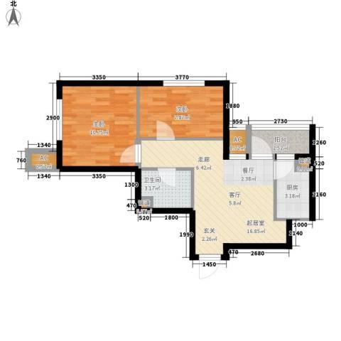 sala私人酒店2室0厅1卫1厨68.00㎡户型图
