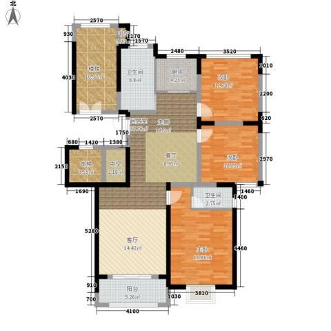 绿洲花园3室0厅2卫1厨131.00㎡户型图