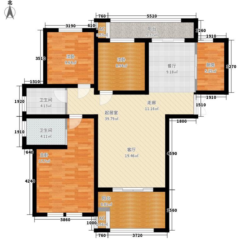 友邦皇家公馆121.03㎡11#高层楼E1户型3室2厅2卫1厨