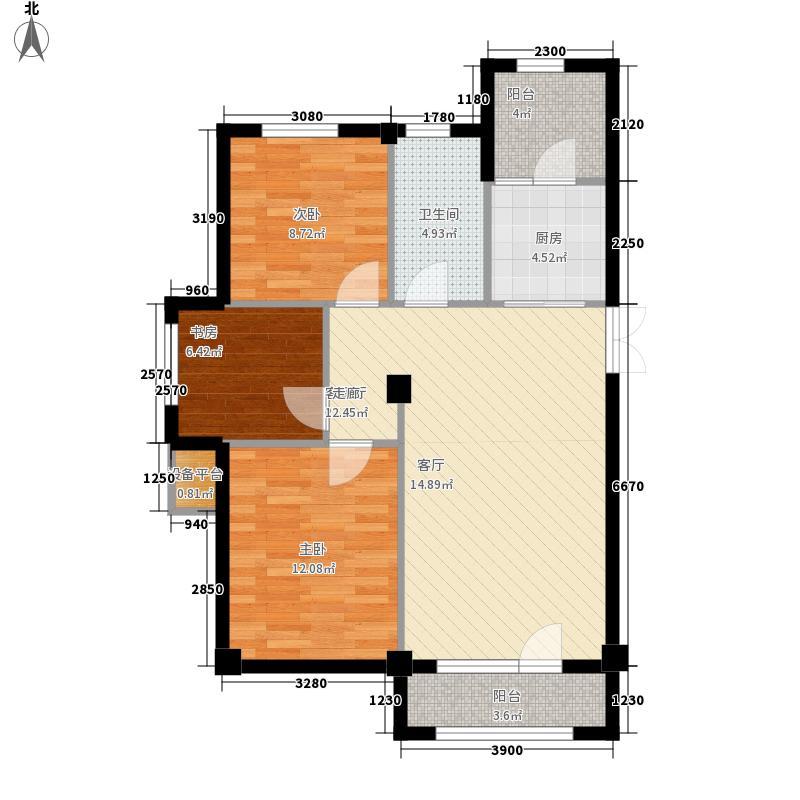 富贵南山86.61㎡富贵南山户型图2#、3#楼F户型3室1厅1卫1厨户型3室1厅1卫1厨