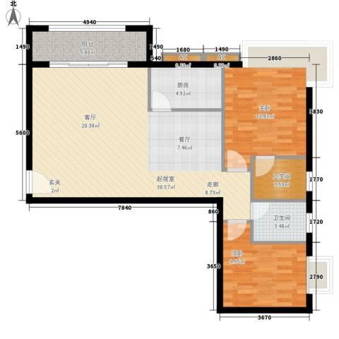 长青城2室0厅2卫1厨90.00㎡户型图