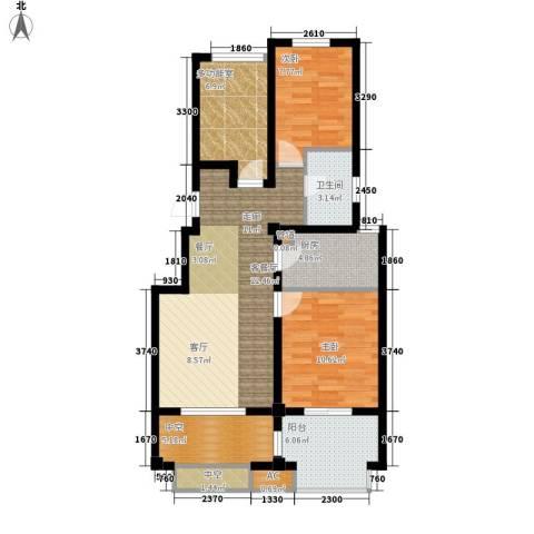 月秀东苑2室1厅1卫1厨81.00㎡户型图