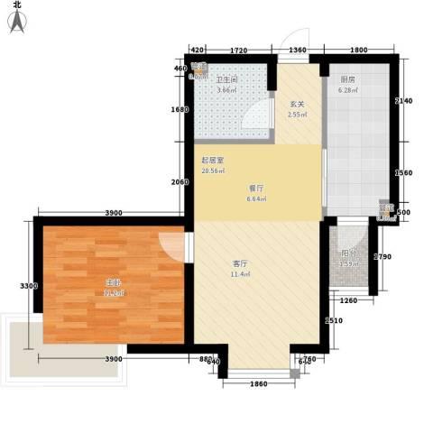 锦绣江南1室0厅1卫1厨62.00㎡户型图