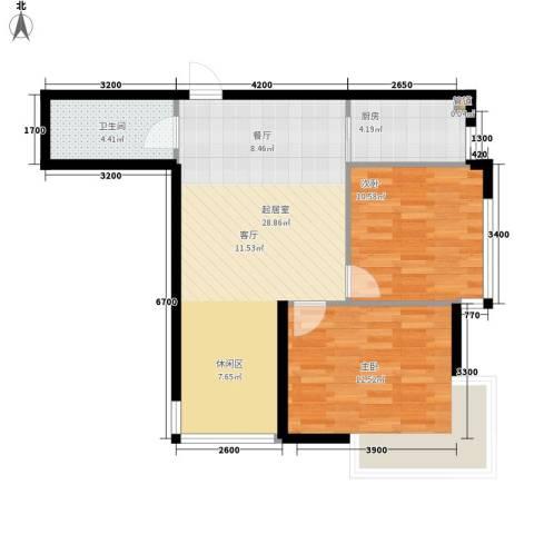 锦绣江南2室0厅1卫1厨83.00㎡户型图