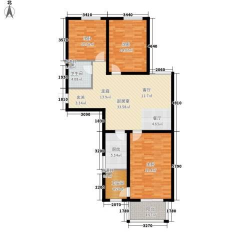 月亮湾3室0厅2卫1厨137.00㎡户型图