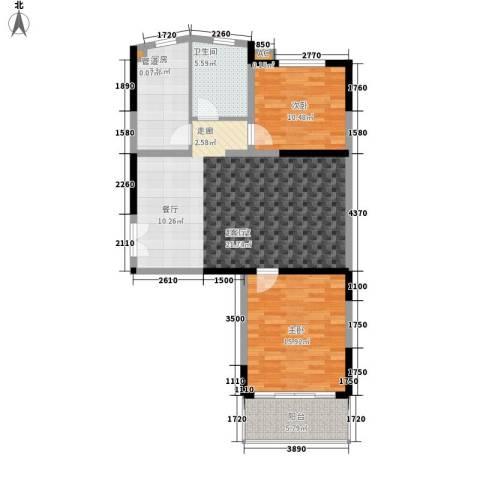 上城2室0厅1卫1厨90.00㎡户型图