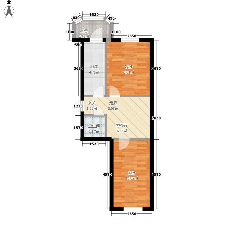 鸿朗花园45.33㎡鸿朗花园户型图2室1厅1卫1厨户型10室